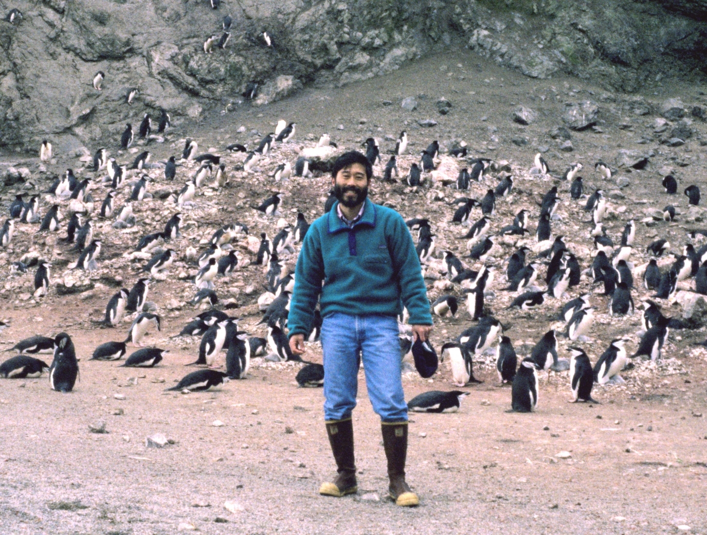 A man with a group of penguins behind him.
