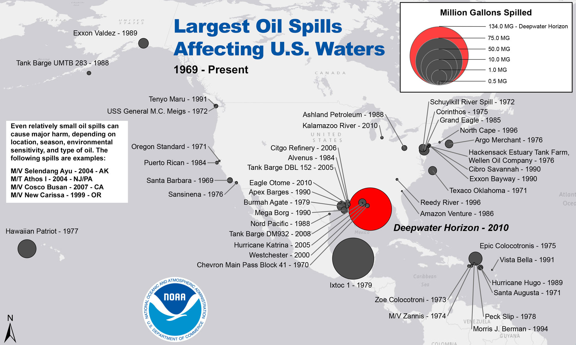 Largest Oil Spills Affecting U S Waters Since 1969 Noaa Click To Enlarge