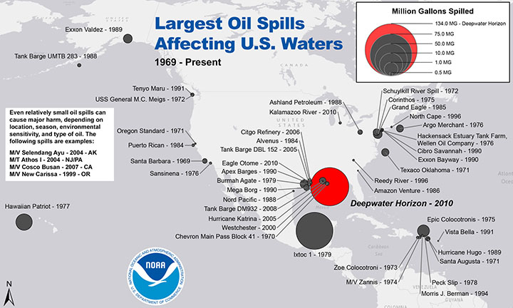 Map showing location and relative size of largest oil spills affecting U.S. waters since 1969.