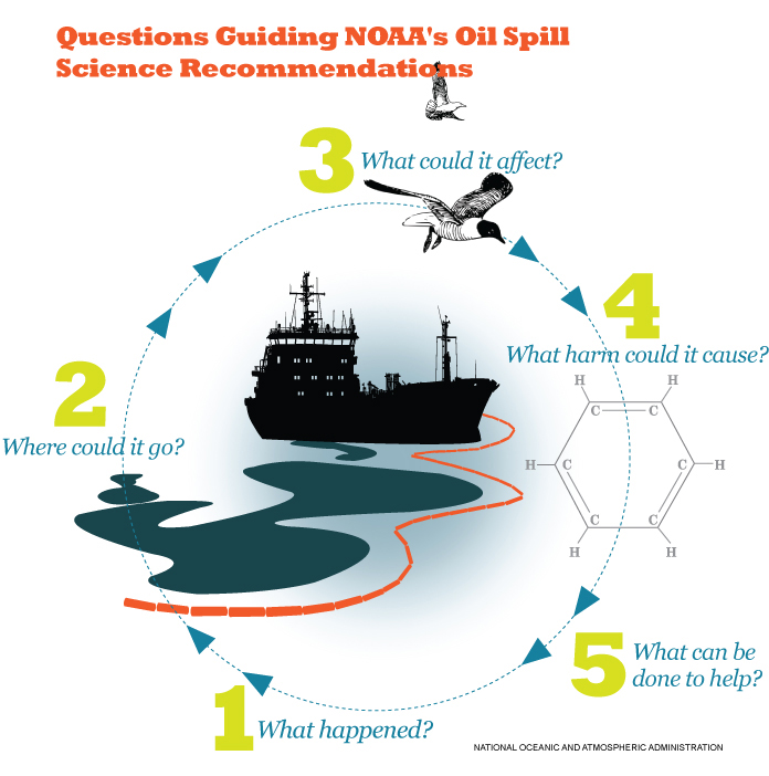 Graphic showing five questions guiding NOAA's oil spill response science, with a ship leaking oil surrounded by boom, with flying birds and a benzene molecule.