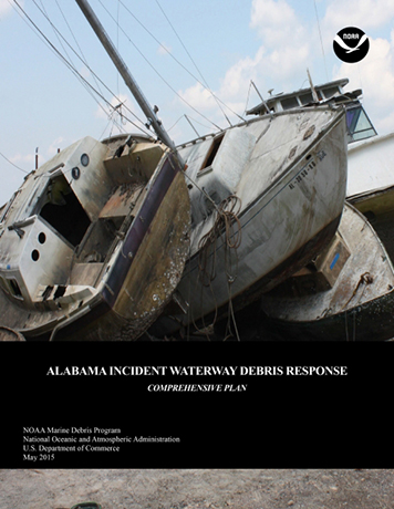 Cover of Alabama Incident Waterway Debris Response Plan, with damaged boats.