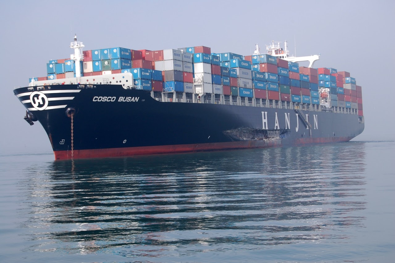 A shipping vessel.