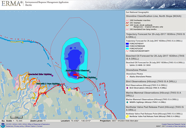 Information visualized on Arctic ERMA during the Mutual Aid Deployment exercise on Alaska's North Slope oil field. Image credit: NOAA.