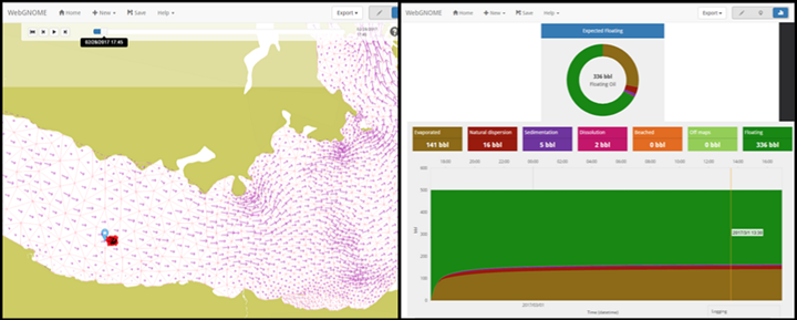 A map view of WebGNOME on the left; oil fate (weathering) view on the right.