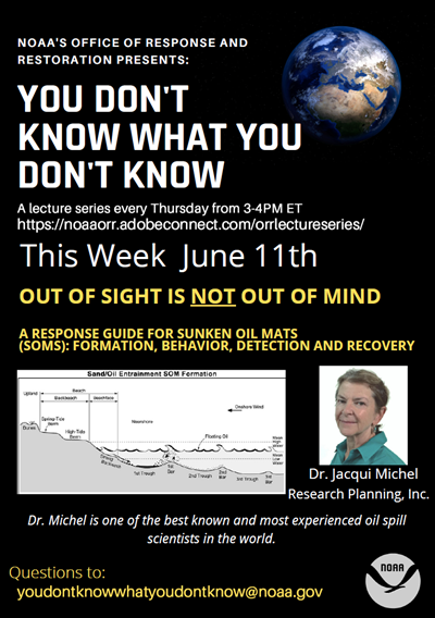 Poster for Dr. Jacqui Michel lecture on topic of sunken oil mats, described in page text.