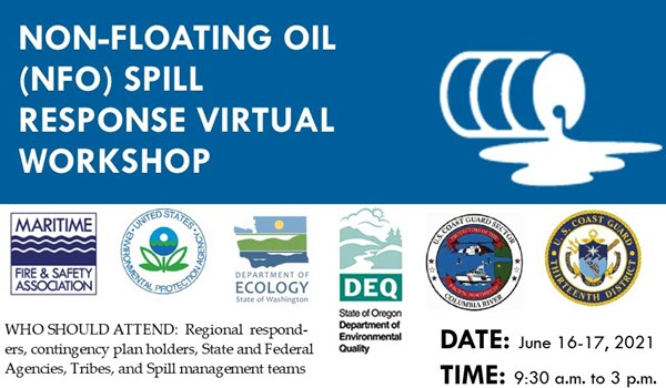 Poster for Maritime Fire & Safety Association's Non-Floating Oil (NFO) Workshop.