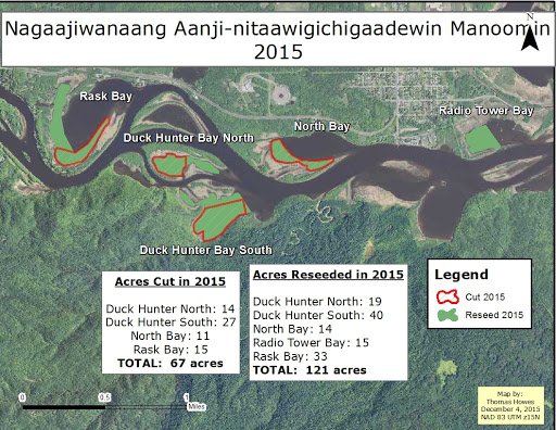 "A map of ""Nagaajiwanaang Aanji-nitaawigichigaadewin Manoonmin"" in 2015 labeling the acres of land cut and the areas reseeded."