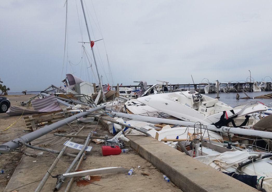 Hurricane debris on a dock.