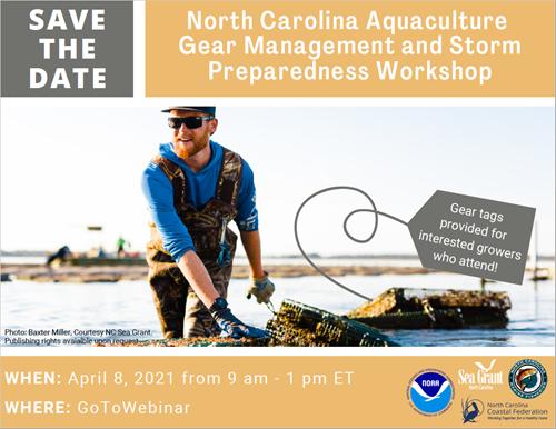 Poster for the North Carolina Aquaculture Gear Management and Storm Preparedness Workshop.