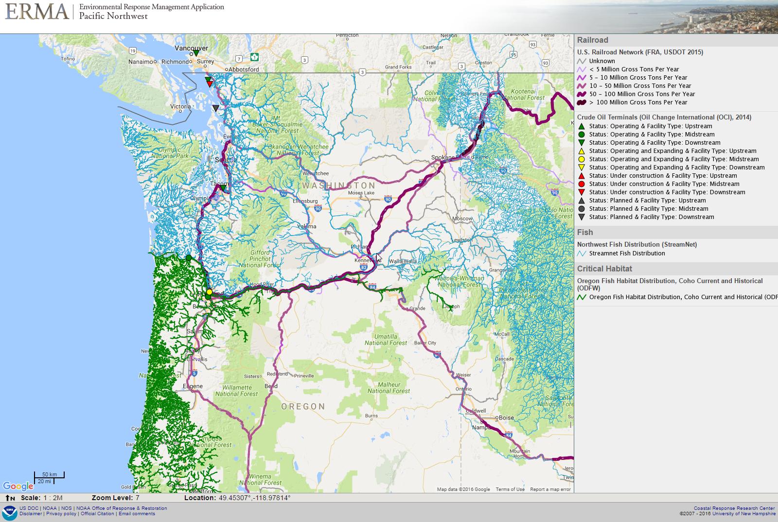 Pacific Northwest ERMA Responserestorationnoaagov - Map of pacific northwest usa