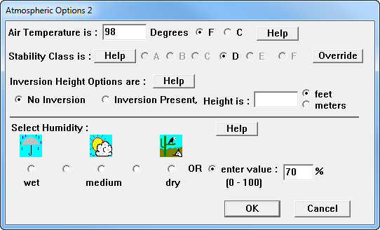 On the second Atmospheric Options dialog box, Susan sees the stability class and enters information about air temperature, inversion height, and humidity.