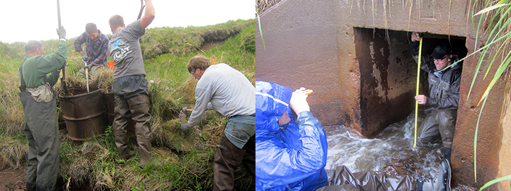 Workers remove rusted drums from the banks of Helmet Creek. People monitoring the streambed regrade.