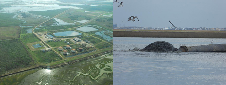 Left: Aerial view of Malone Services Company waste site. Right: Birds swoop over a pipeline releasing mud into a marsh.
