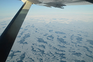 View of sea ice cover from a plane.