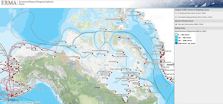 U.S. and circumpolar shipping routes through the Arctic, as viewed in NOAA's online mapping tool, Arctic ERMA.