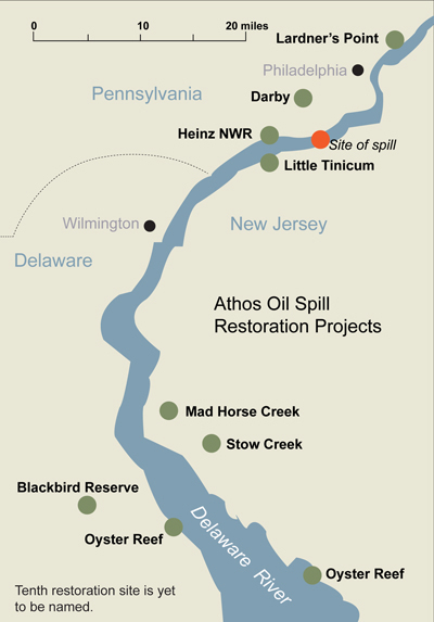 Map of Athos oil spill restoration projects on the Delaware River.