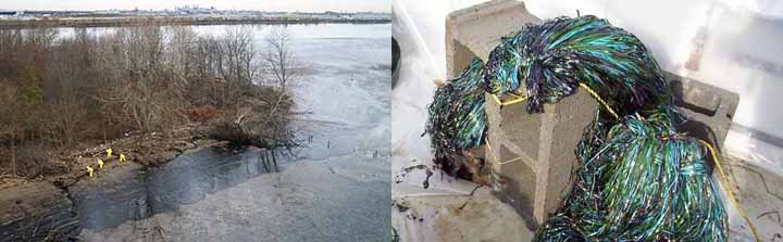 Left, workers clean up an oiled river shoreline. Right, oiled pom-poms line a rope tied to a concrete block.