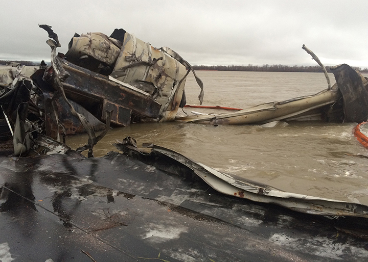 Damaged barge on the Mississippi River.