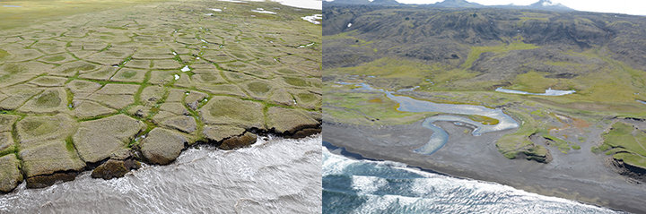 Left, coastline of Alaska's NOrth Slope and right, coastline of St. Lawrence Island in the Bering Sea.