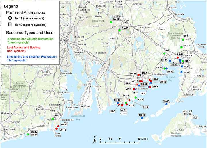A map of the preferred restoration projects in Massachusetts and Rhode Island for the Bouchard Barge 120 spill, as identified in the second draft restoration plan.