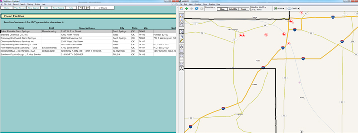 A screen shot of CAMEOfm with a list of certain chemical facility locations in Tulsa County and a view of these locations mapped in MARPLOT.