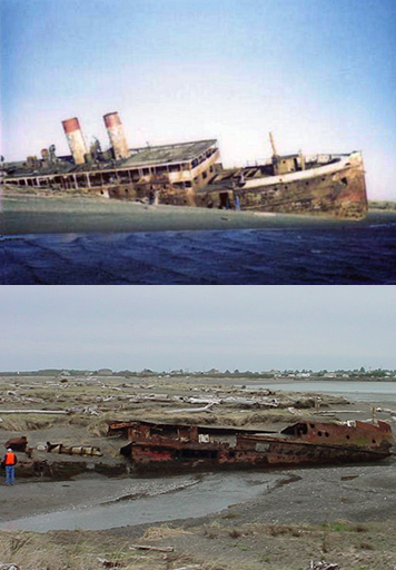 A wrecked and rusted ship on a beach in 1976 and later in 2006.