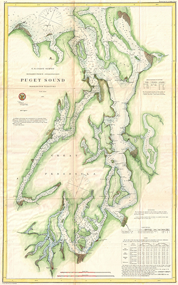 U.S. Coast Survey nautical chart of Washington's Puget Sound in 1867.