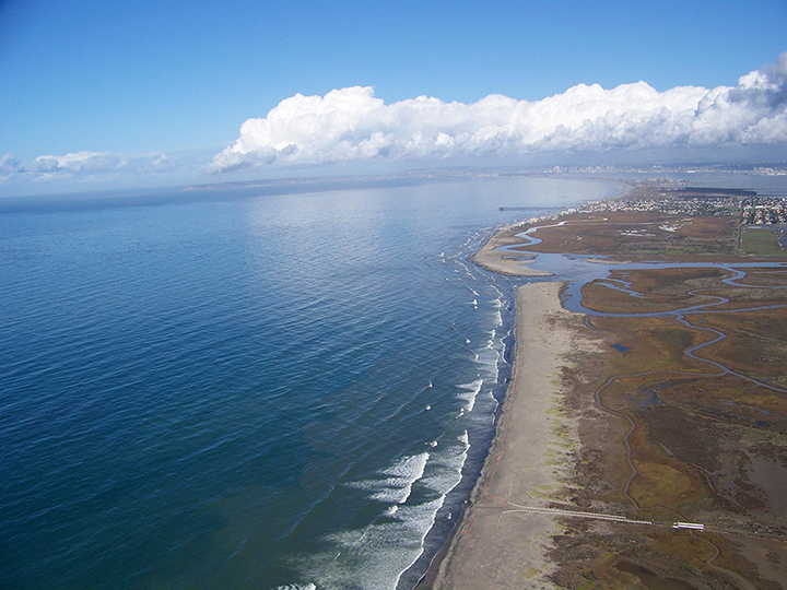 Coastline of Tijuana River National Estuarine Research Reserve in southern California.