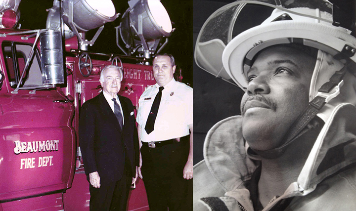 Left, Walter Cronkite poses with a man and truck from the Beaumont, Texas, fire department. Right, close up of Derwin Daniels in firefighter gear.