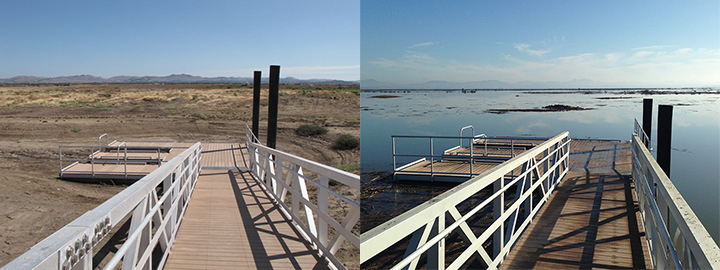 Left: A boat ramp leading to a dry field. Right: Flooded marsh with a boat ramp in California.