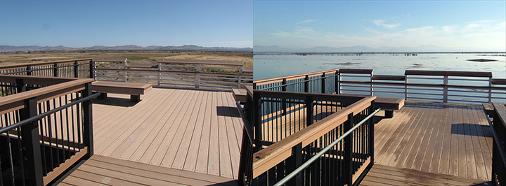 Left: Wildlife viewing platform overlooking dry fields. Right: Wildlife viewing platform overlooking flooded fields.