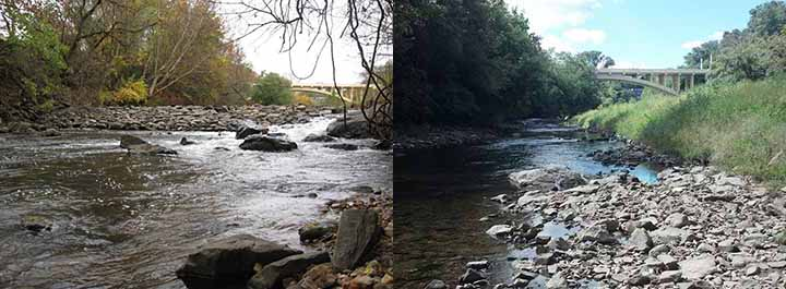 Stream with rock dam (left) and without rock dam (right).