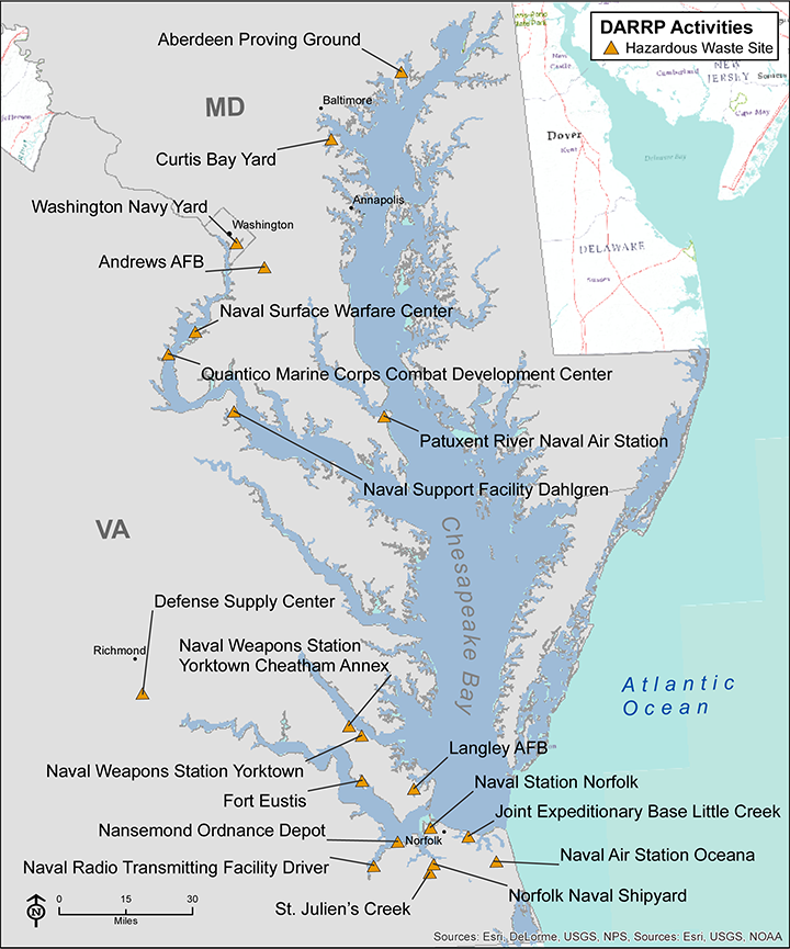 Map of hazardous waste sites on federal properties in the Chesapeake Bay area.