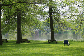 Person in lawn chair at Washington Crossing State Park, north of Philadelphia.