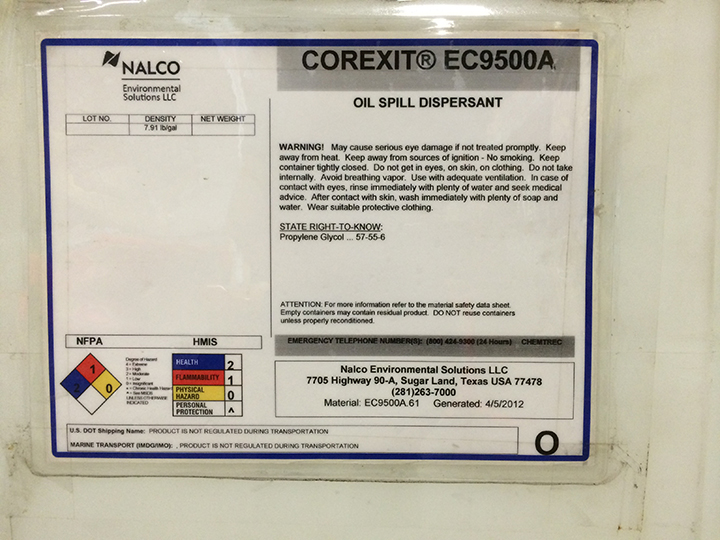 Chemical product label for Corexit dispersant.