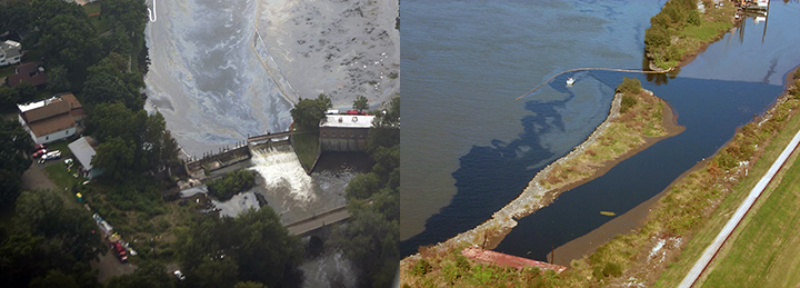 Left: Oil passing through a dam on a river. Right: Thick dark oil floating between edges of a riverbank with a boat and boom.