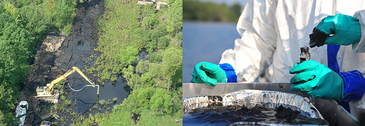 Left, aerial view of heavy equipment digging oil out of a creek surrounded by woods. Right, people in gloves and hazmat suits sampling thick oil from a tin into a vial.