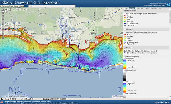 Screenshot of interactive map of Louisiana and Alabama showing water depth and oiled shorelines.