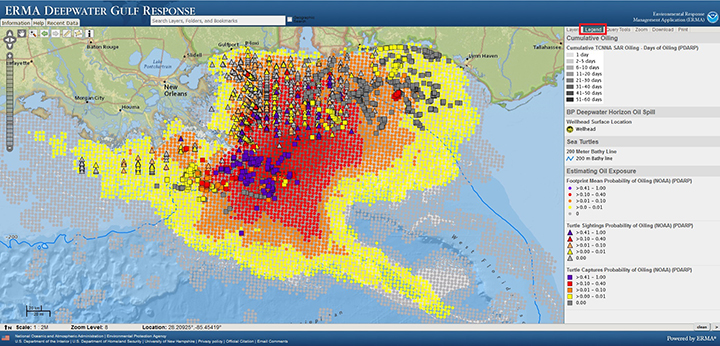 View of Environmental Management Application map of Gulf of Mexico showing varying probabilities of oil presence and sea turtle exposure to oil during the Deepwater Horizon oil spill with map legend.