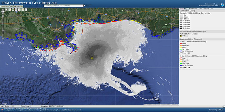 Screen shot of mapping program for Gulf of Mexico with oil spill data.