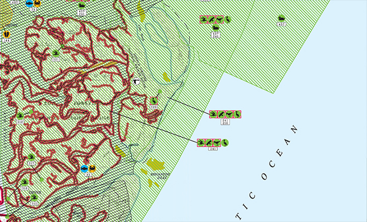 Segment of an existing Environmental Sensitivity Index map of the New Jersey coast.