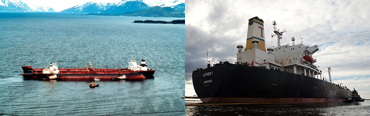 Left, Exxon Valdez ship with response vessels in Prince William Sound. Right, close up of Athos I oil tanker.