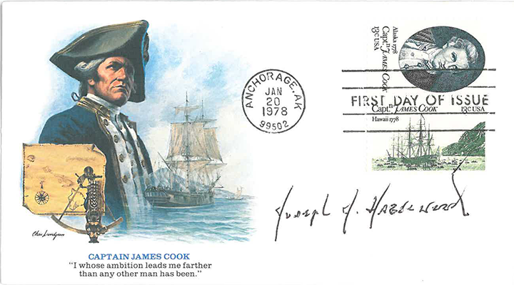 The autograph of Joseph Hazelwood on a commemorative James Cook envelope with a 'First Day of Issue' stamp featuring Captain Cook.