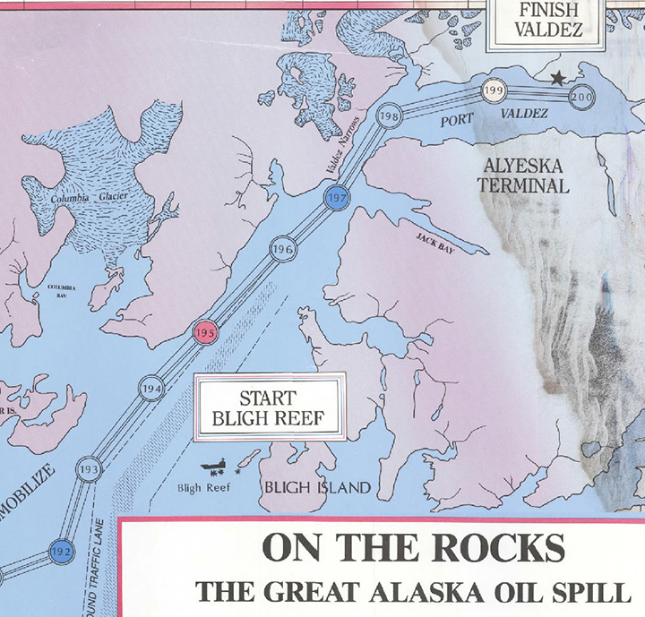 A view of part of the board game On the Rocks: The Great Alaska Oil Spill with a map of Prince William Sound.