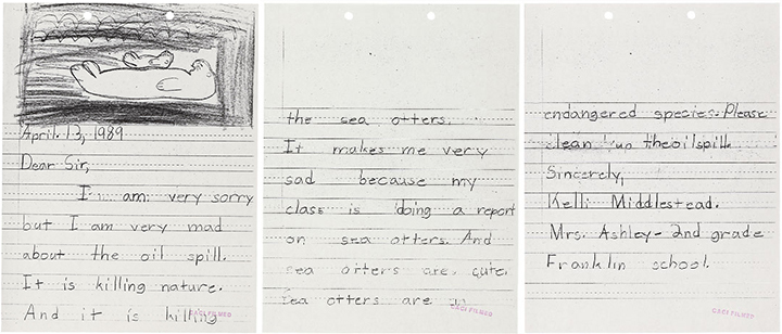 Three pages of a 1989 letter and otter drawing from second grader Kelli Middlestead about the Exxon Valdez oil spill's effects on sea otters.