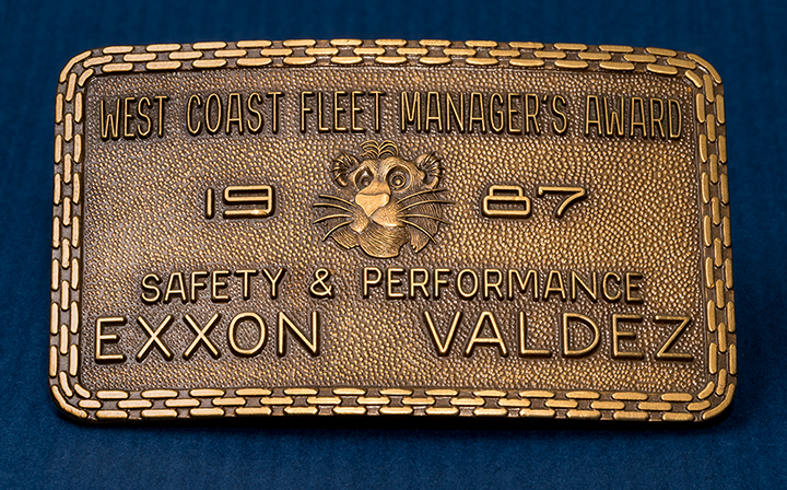 This belt buckle commemorates a safety and performance award from 1987 for the Exxon Valdez.