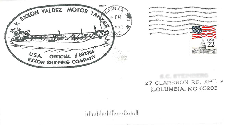 The Exxon Shipping Company official ink stamp featuring the tanker Exxon Valdez on a postmarked envelope.