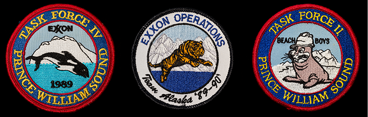 Three patches collected from Exxon commemorating its operations in Alaska and Prince William Sound.