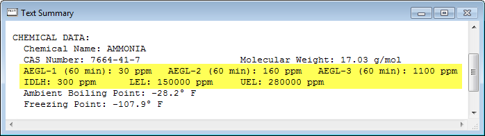 In the Text Summary window, look under the Chemical Data heading for toxic Levels of Concern, such as 60-minute Acute Exposure Guideline Levels (AEGLs).