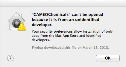 A sample dialog box warning that CAMEO Chemicals cannot be opened, because it is from an unidentified developer.